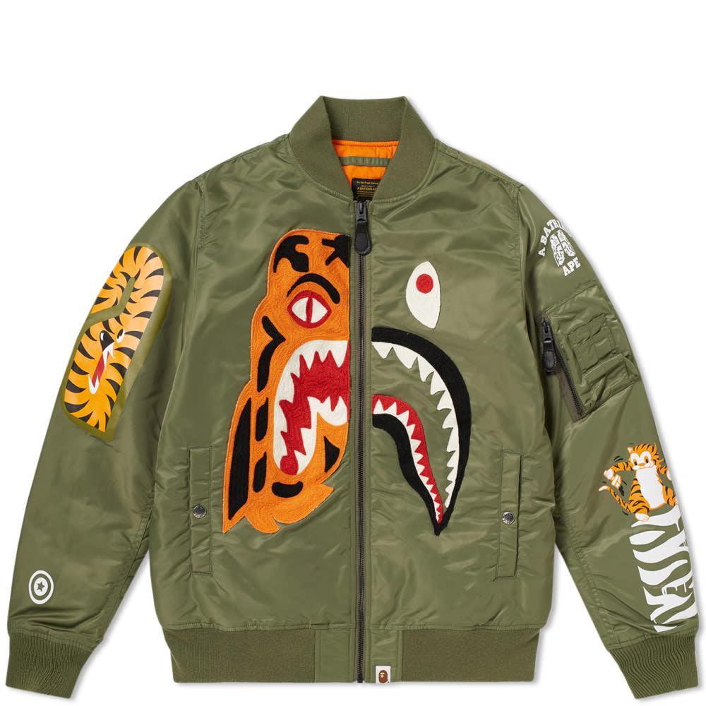2b481f56dd9 A Bathing Ape Tiger Shark Ma-1 Jacket in Green for Men - Lyst