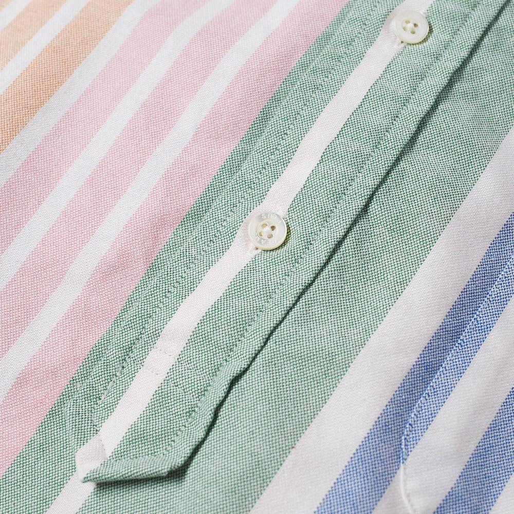 877556e6053 Lyst - Beams Plus Short Sleeve Popover Wide Stripe Oxford Shirt in ...