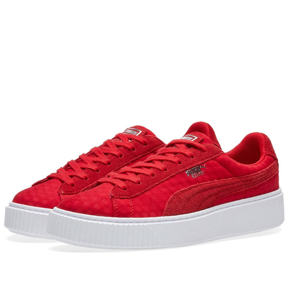 f35faf92563 Lyst - PUMA Women s Basket Platform De in Red