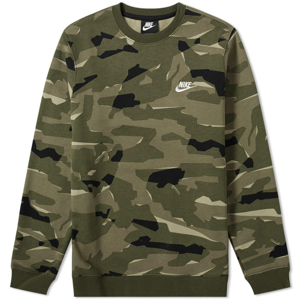 cf3f0110 Lyst - Nike Club Camo Crew Sweat in Green for Men - Save 36%