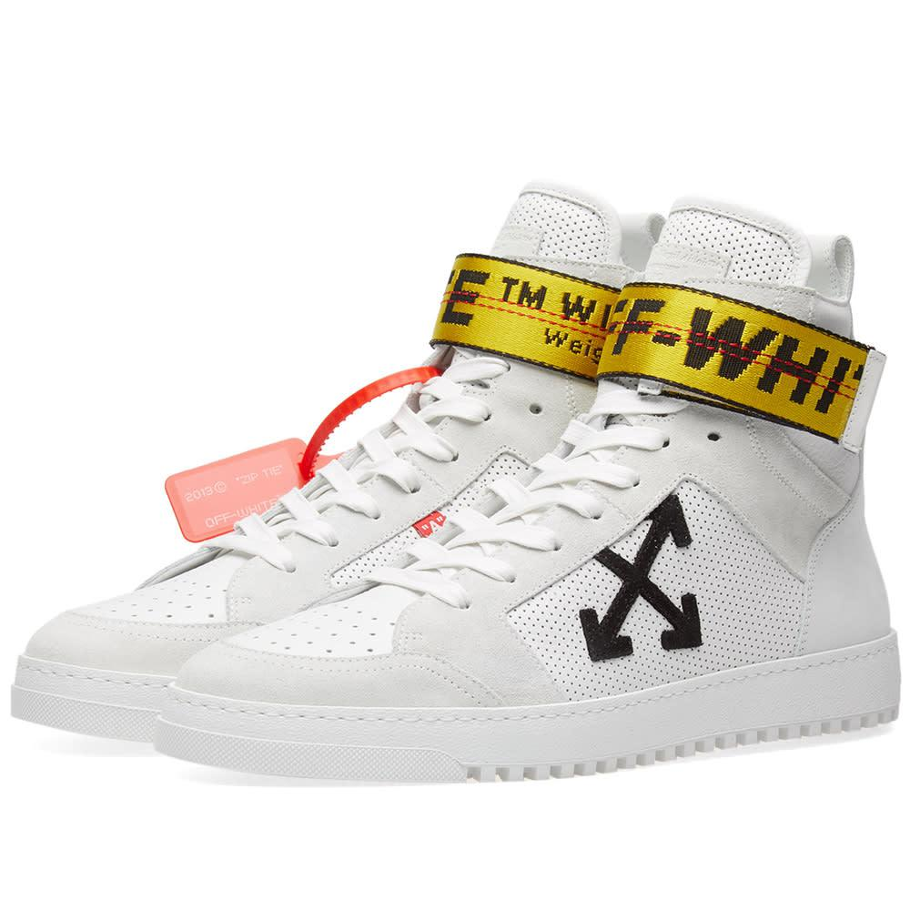 off white c o virgil abloh high top sneaker in white for men lyst. Black Bedroom Furniture Sets. Home Design Ideas
