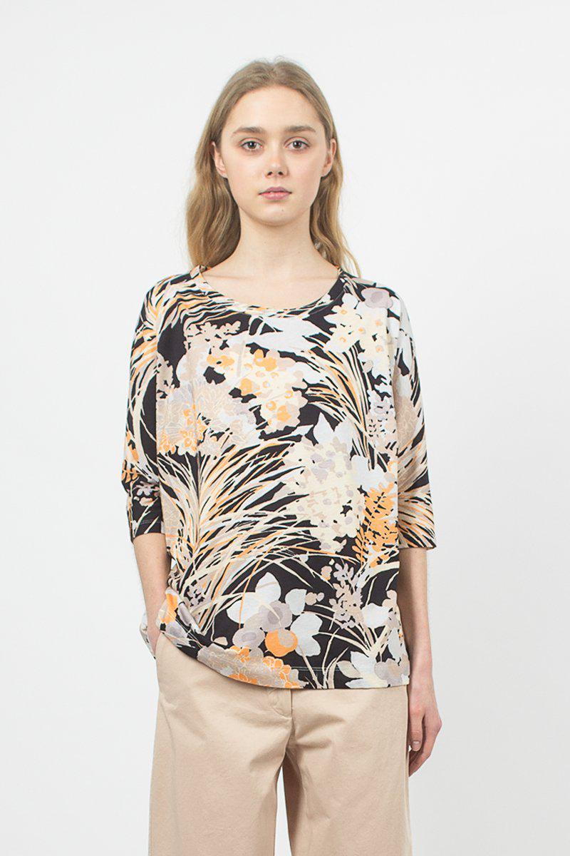 0372ee1673d Lyst - Dries Van Noten Scoop-neck Black Floral T-shirt in Black