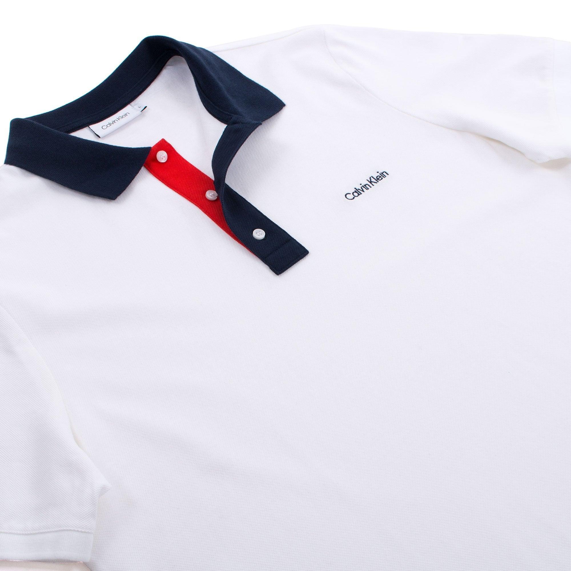 6e994e59a Calvin Klein - White Contrast Collar Pique Polo for Men - Lyst. View  fullscreen