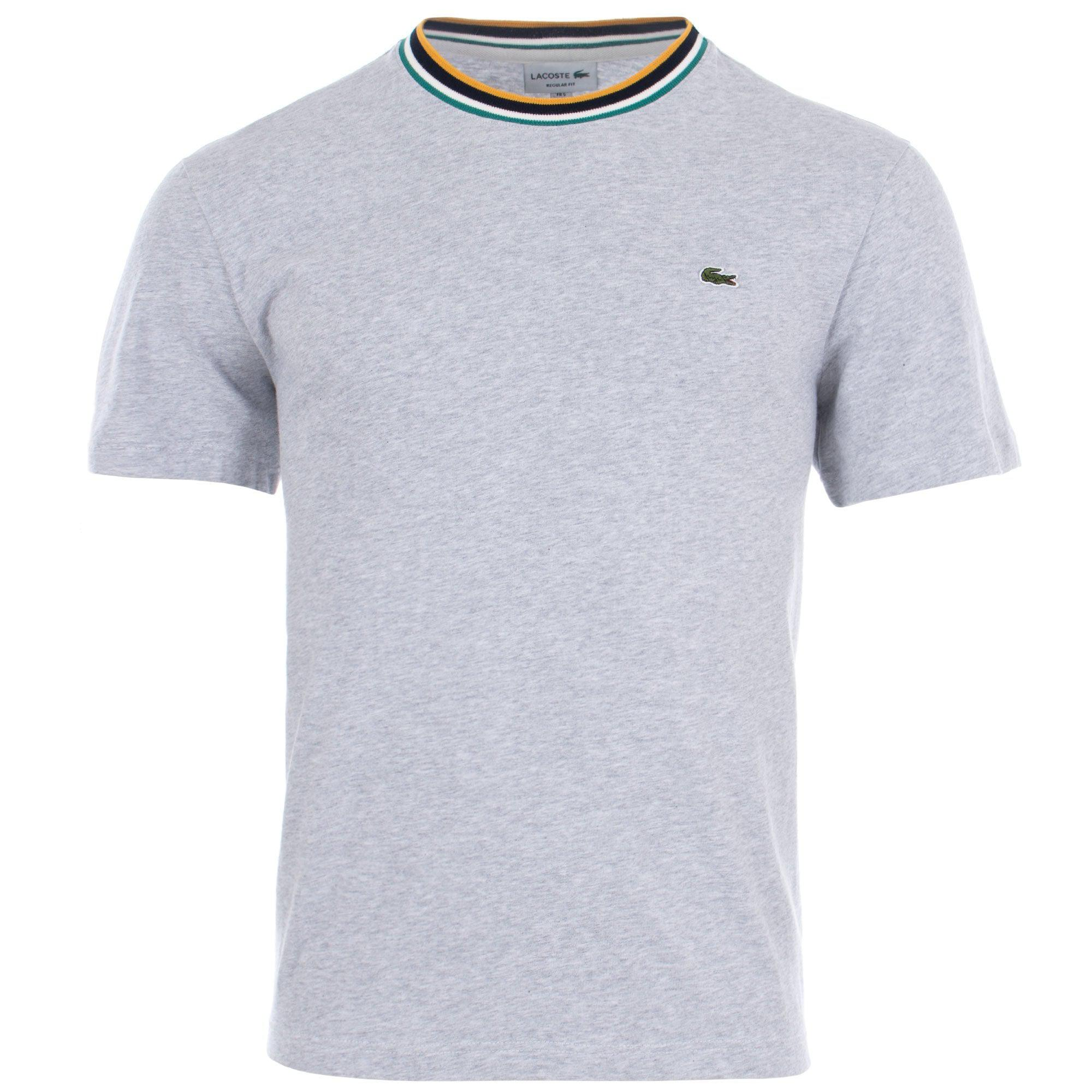 67ba9477 Lacoste Tipped Ribbed Crew Neck T-shirt in Gray for Men - Lyst