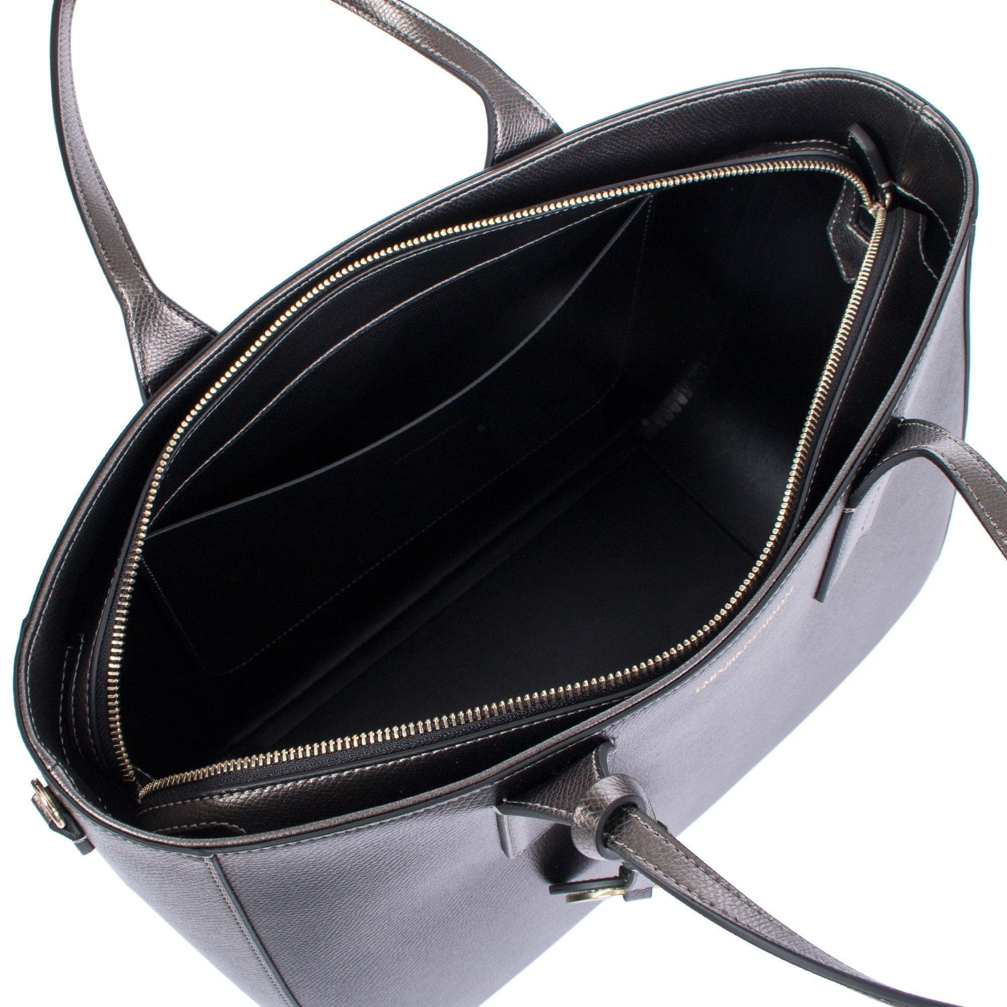2fed795ca Emporio Armani Metal Logo Charm Tote in Gray - Lyst
