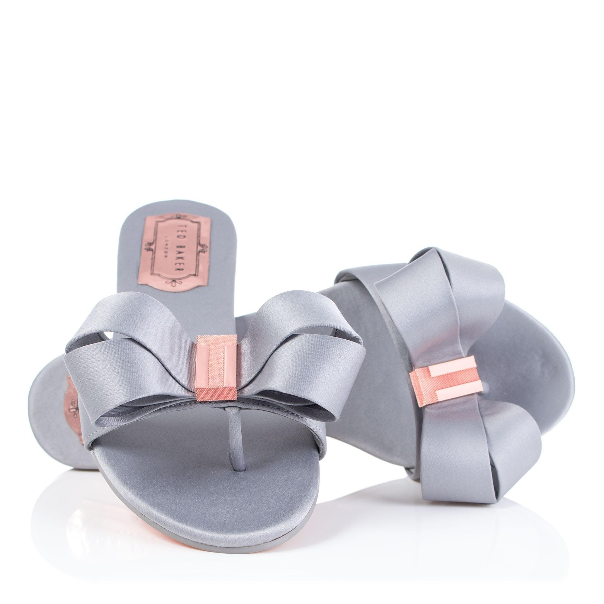0877f1e8ee43 Ted Baker Beauita Bow Slides in Gray - Lyst