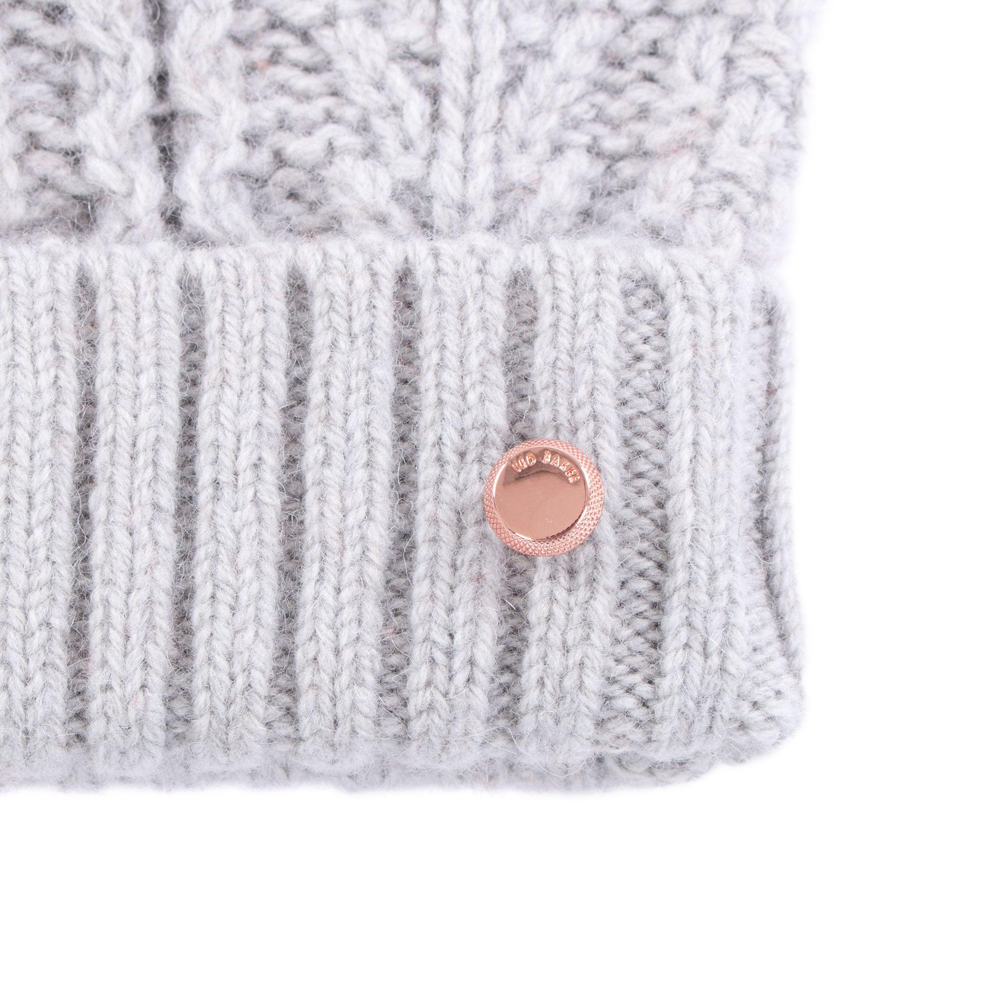 3ff1c1ead38 Ted Baker Kyliee Bobble Hat in Gray - Lyst