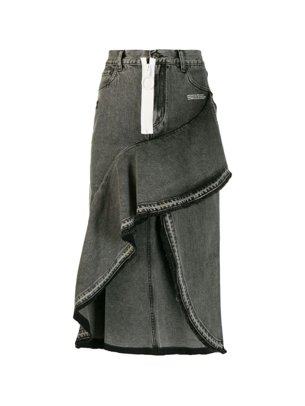 4957cdeec2 Off-White c/o Virgil Abloh. Women's Gray Asymmetric Contrast Zip Denim Skirt