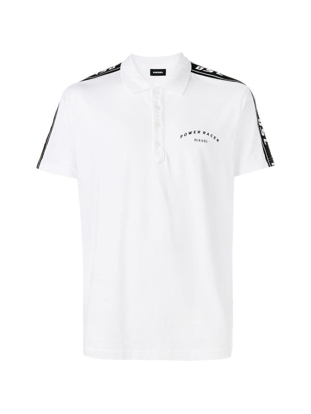 8b062b06 Lyst - DIESEL Side Stripe Polo Shirt in White for Men - Save 22%