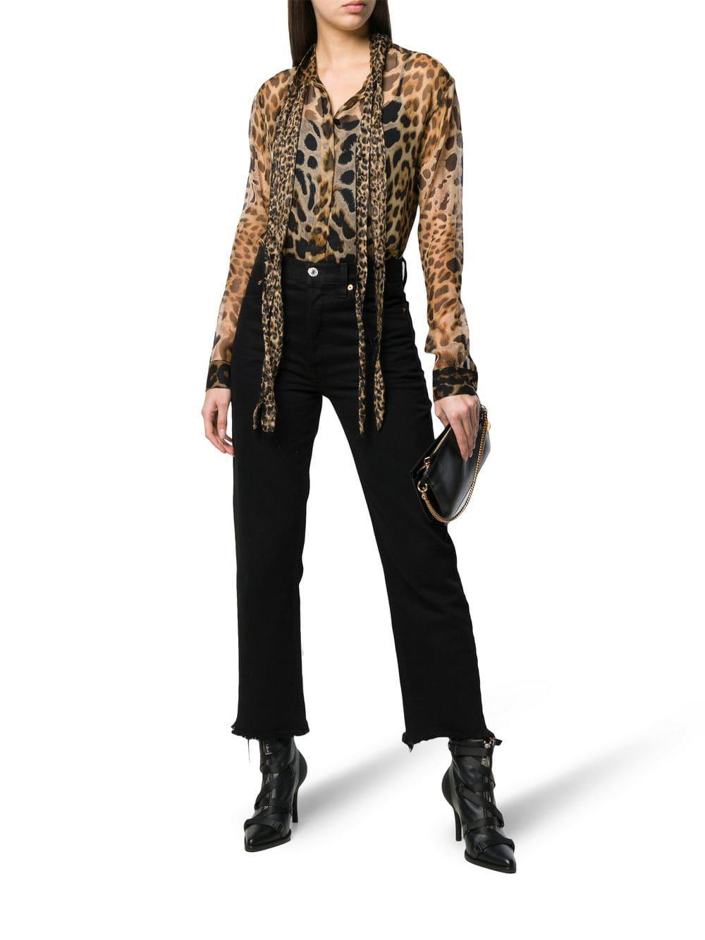1dea93f0 Lyst - Saint Laurent Tie-neck Leopard-print Blouse in Brown