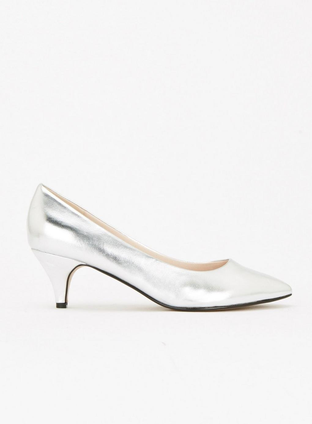b10a67361c9 Evans Extra Wide Fit Silver Kitten Heel Court Shoes in Metallic - Lyst