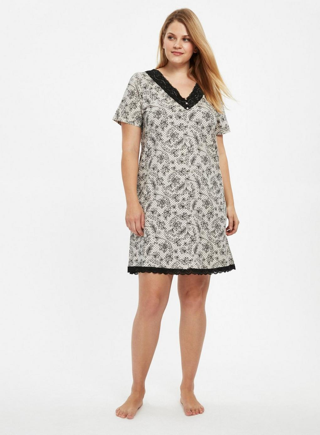 6fa6a86468 Evans - Black Lace Printed Nightdress - Lyst. View fullscreen