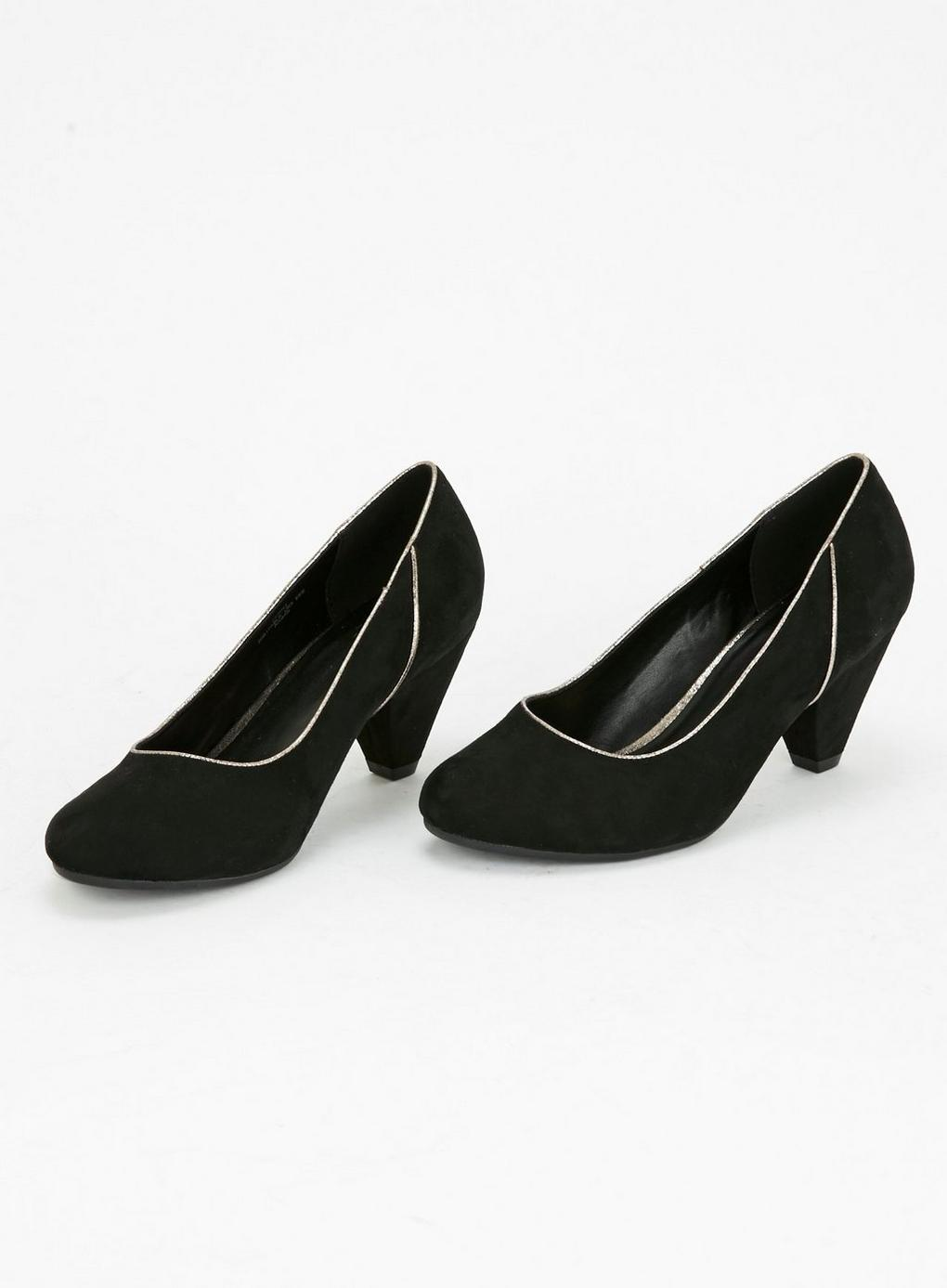 f98254e6450 Evans Extra Wide Fit Black High Heel Court Shoe in Black - Lyst