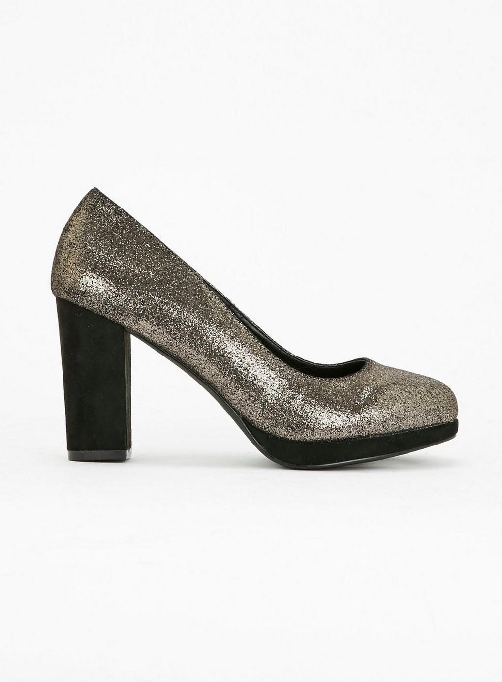 99a2f17acd678 Evans Extra Wide Fit Gold Platform Court Shoes in Metallic - Lyst