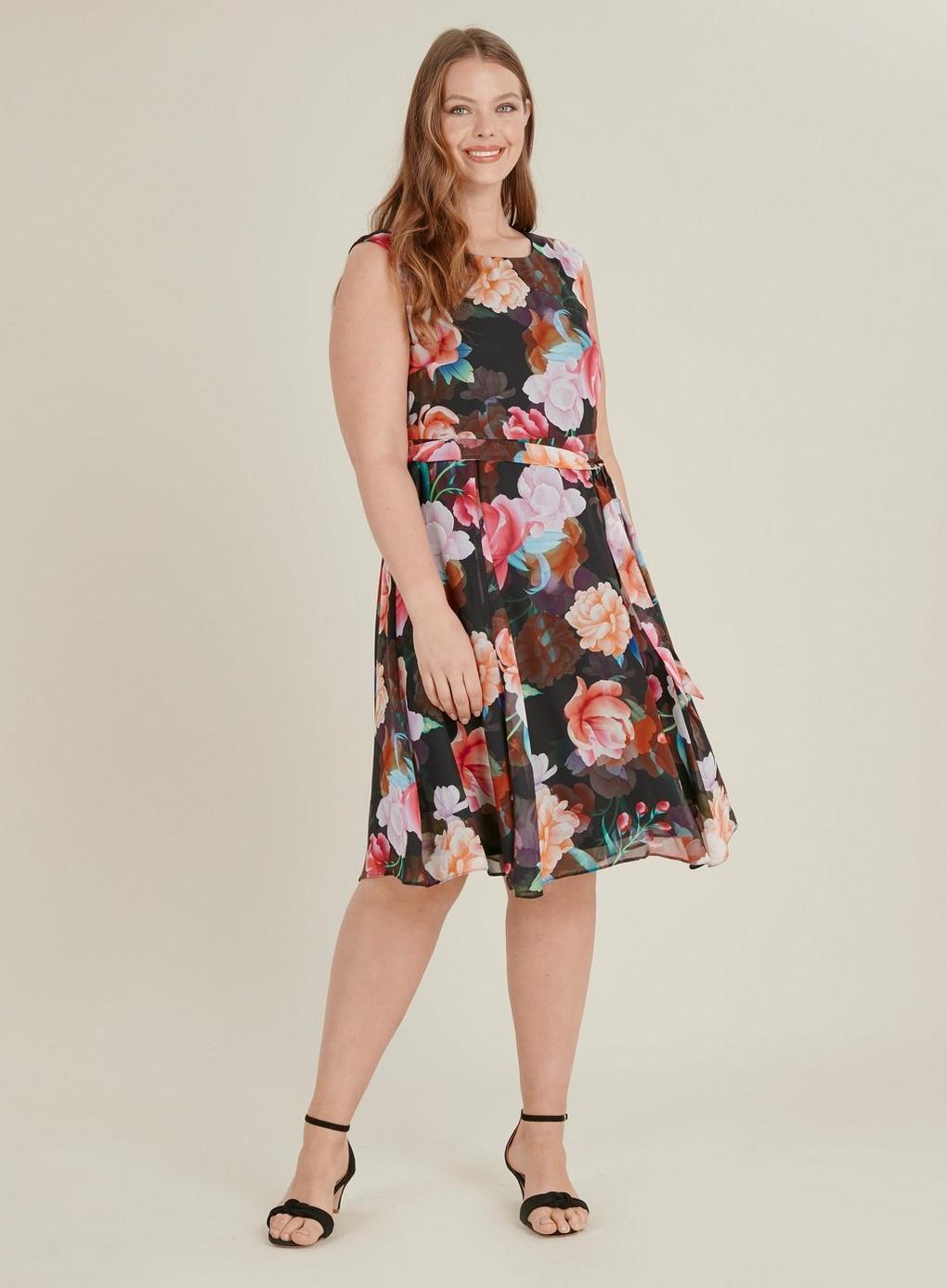 3f44606715 Evans - Black Floral Print Skater Dress - Lyst. View fullscreen