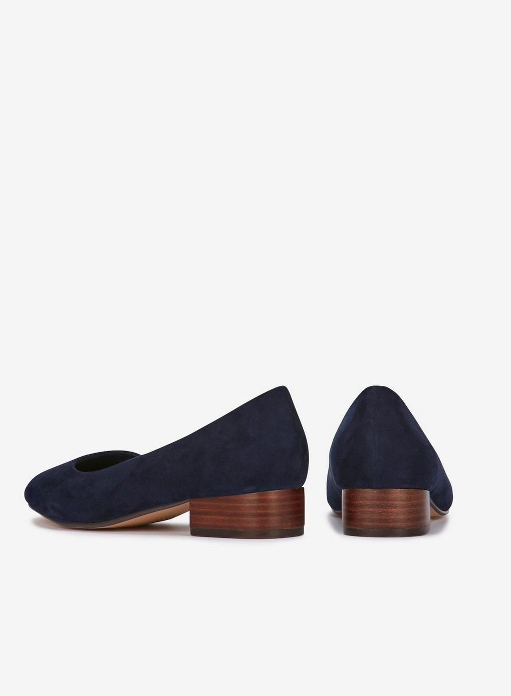 09ab78b720f Evans Extra Wide Fit Navy Blue Low Block Heel Court Shoes in Blue - Lyst