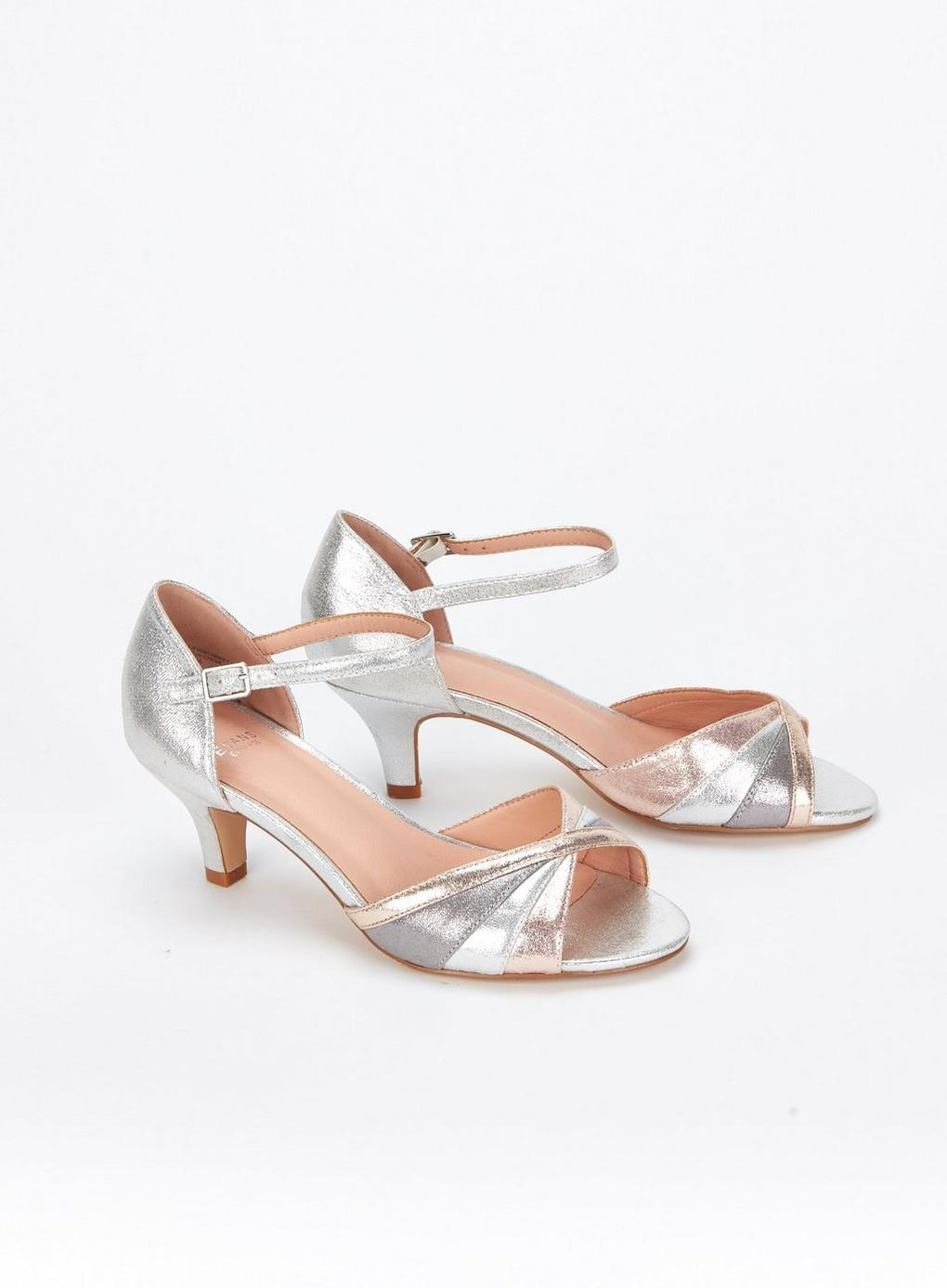 8d53c017d ... Extra Wide Fit Silver Peep Toe Heeled Sandals - Lyst. Visit Evans. Tap  to visit site