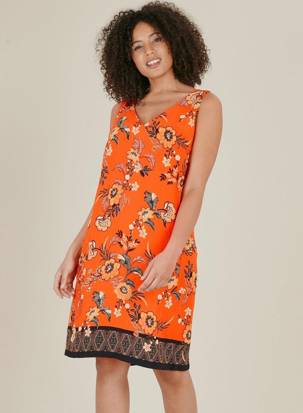 6dd46e25b44b6 Evans - Orange Floral Print Pinafore Dress - Lyst. View fullscreen