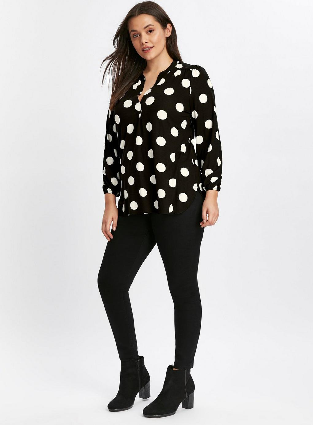 f33c2594a272e2 Evans - Black Spot Print Jersey Shirt - Lyst. View fullscreen