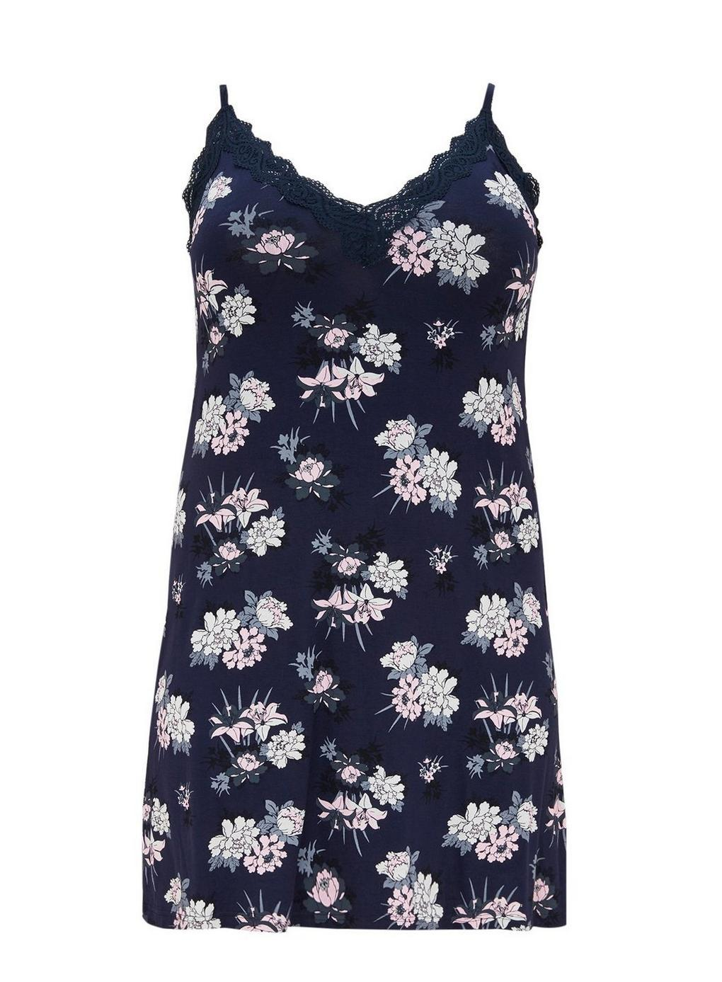 2ee765a88a Evans Navy Blue Floral Print Nightdress in Blue - Lyst