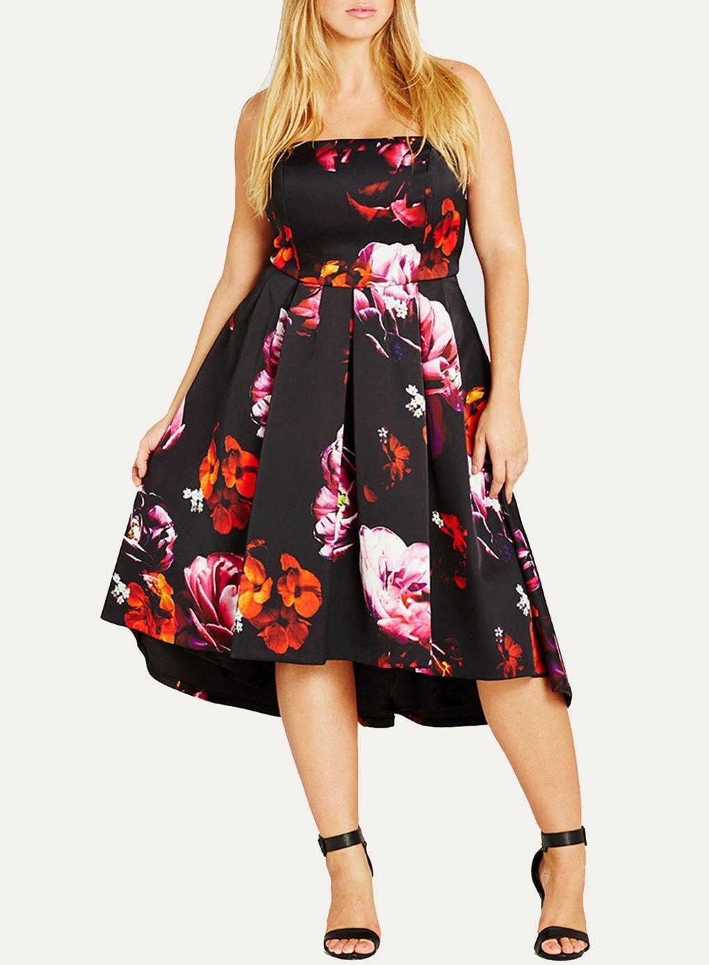 f9a7a58f32 Evans   city Chic Black Floral Print Skater Dress in Black - Lyst