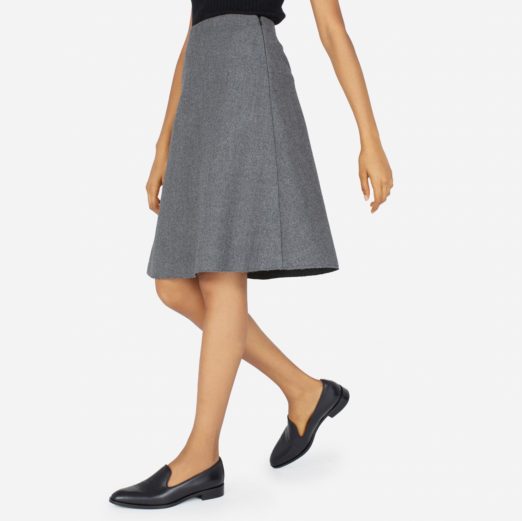 Everlane The Premium Wool Flared Skirt in Gray | Lyst