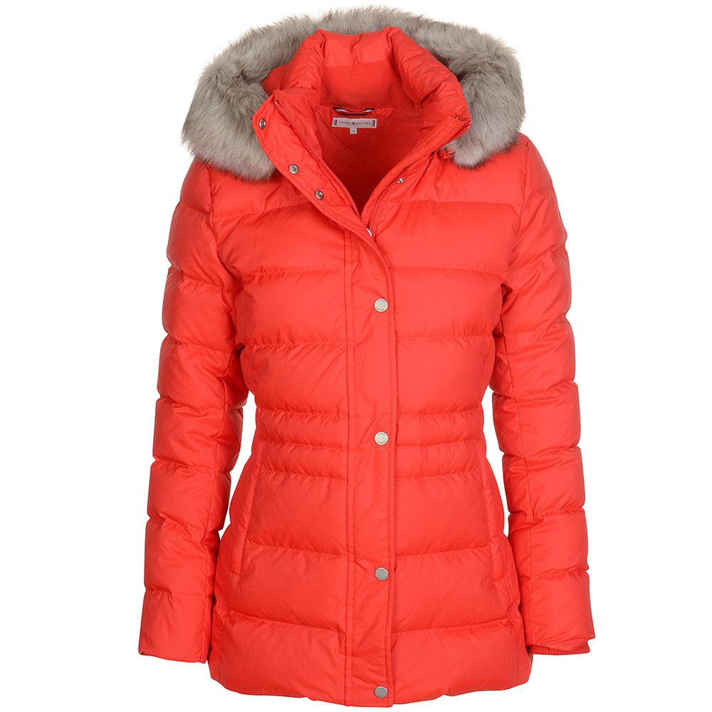 Tommy Hilfiger Tyra Quilted Down Hip Length Hooded Coat in Red - Lyst 3fdb786635