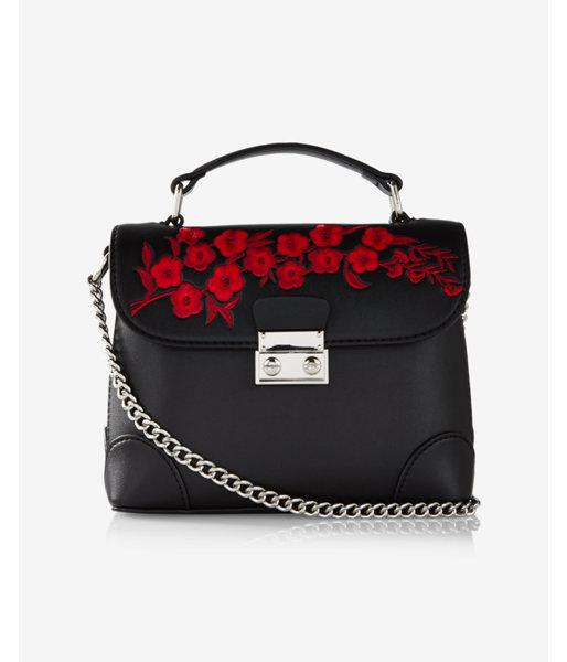 Lyst Express Floral Embroidery Top Handle Cross Body Bag In Black