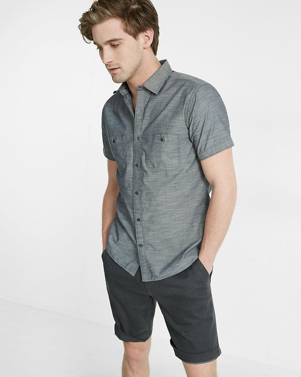 Lyst express slub short sleeve shirt in gray for men for Short sleeve button up shirts