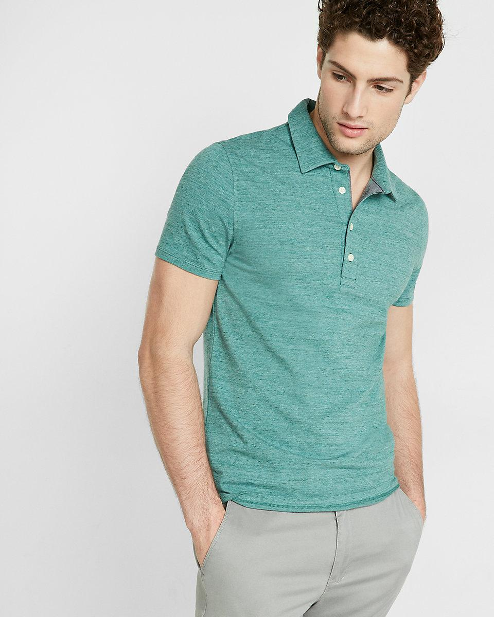 Express textured space dye signature polo in blue for men for Mint color polo shirt