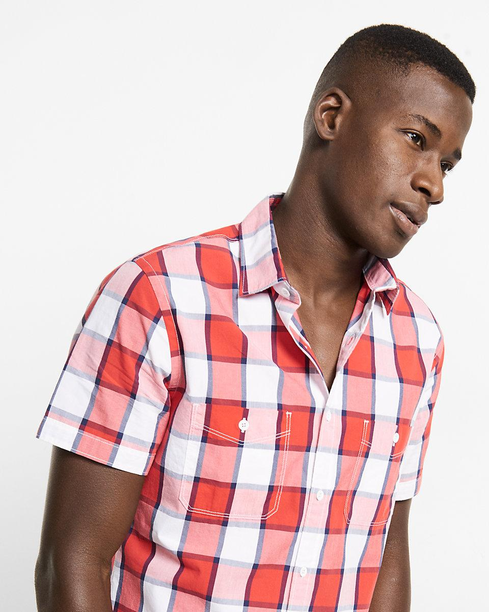 Express soft wash red and white plaid short sleeve shirt for Red and white plaid shirt mens