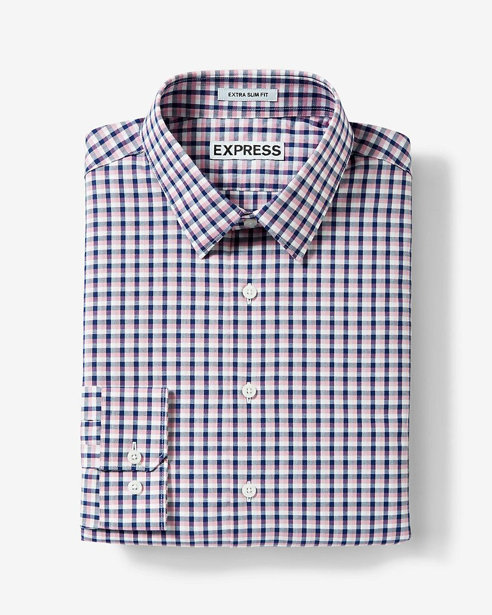 Express slim fit plaid dress shirt in pink for men lyst for Pink checkered dress shirt
