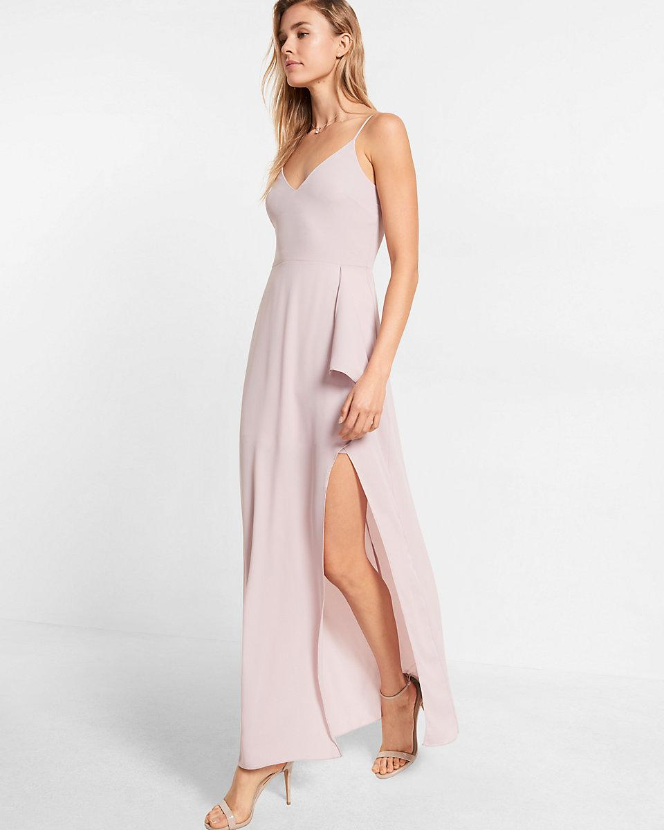 Lyst - Express High Slit Maxi Dress in Pink
