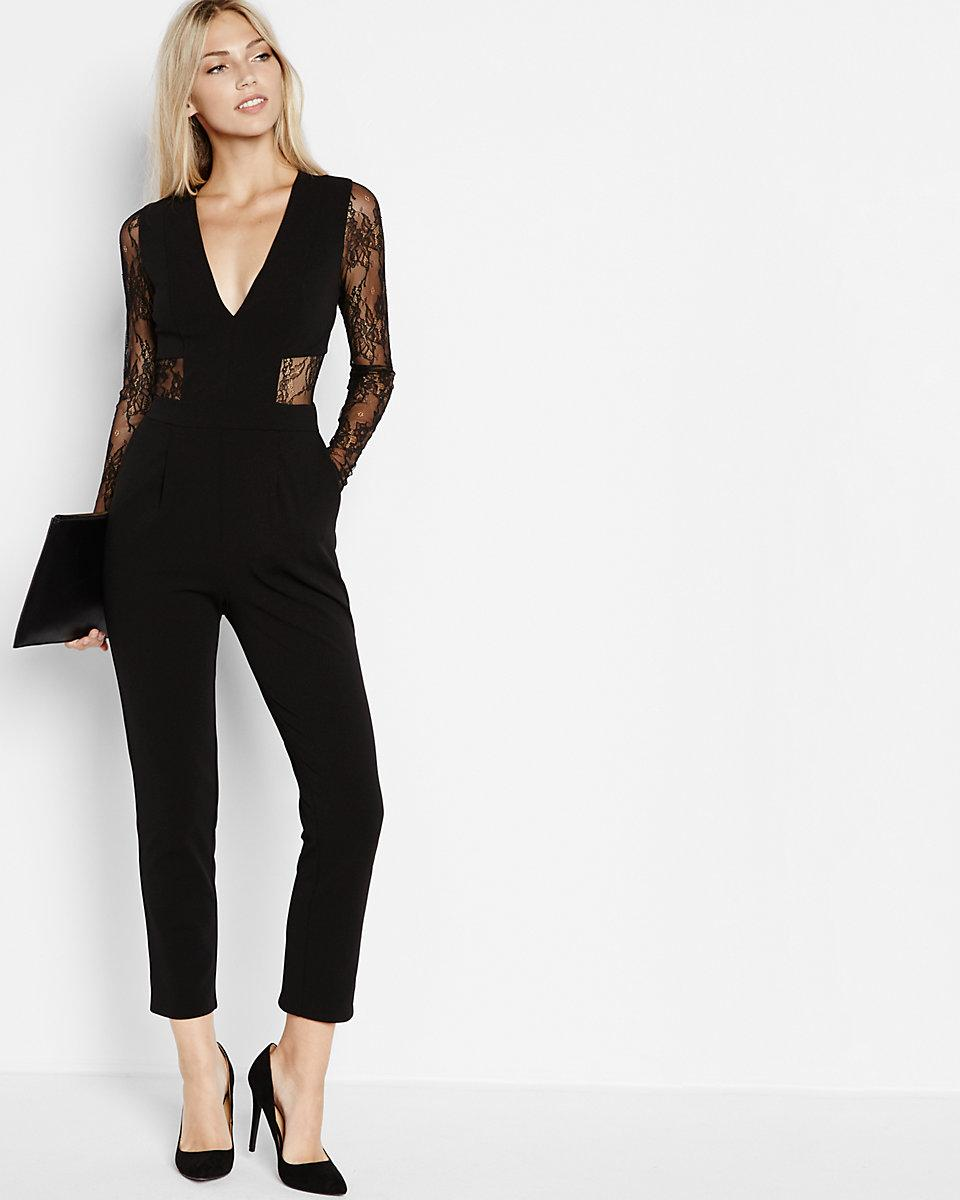 624939f1a569 Lyst - Express Black Lace Back And Sleeve Jumpsuit in Black