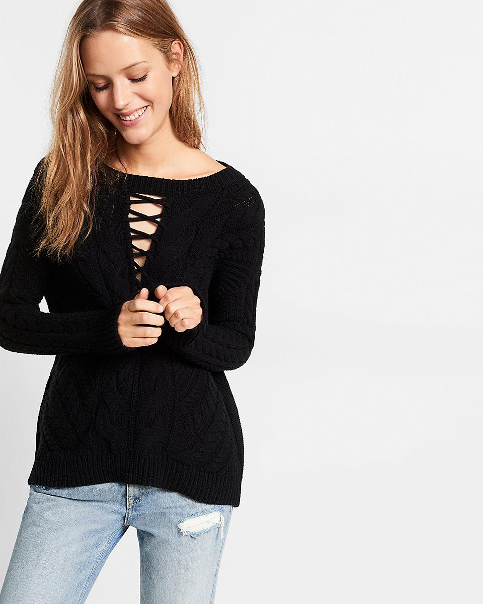 Lyst - Express Lace-up Inset Cable Knit Sweater in Black 5552d2619