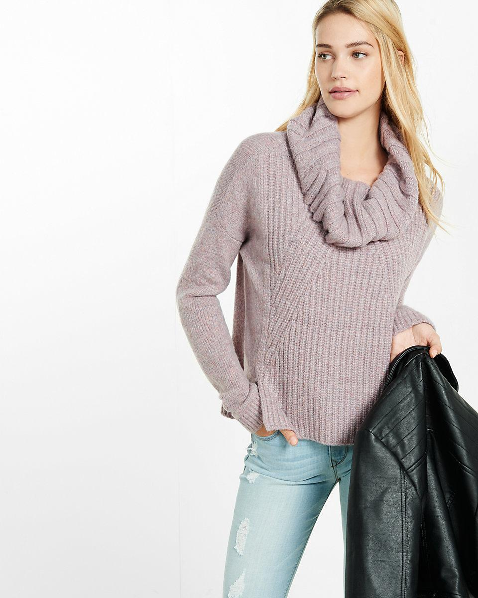 Express Mixed Knit Cowl Neck Boxy Sweater in Pink | Lyst