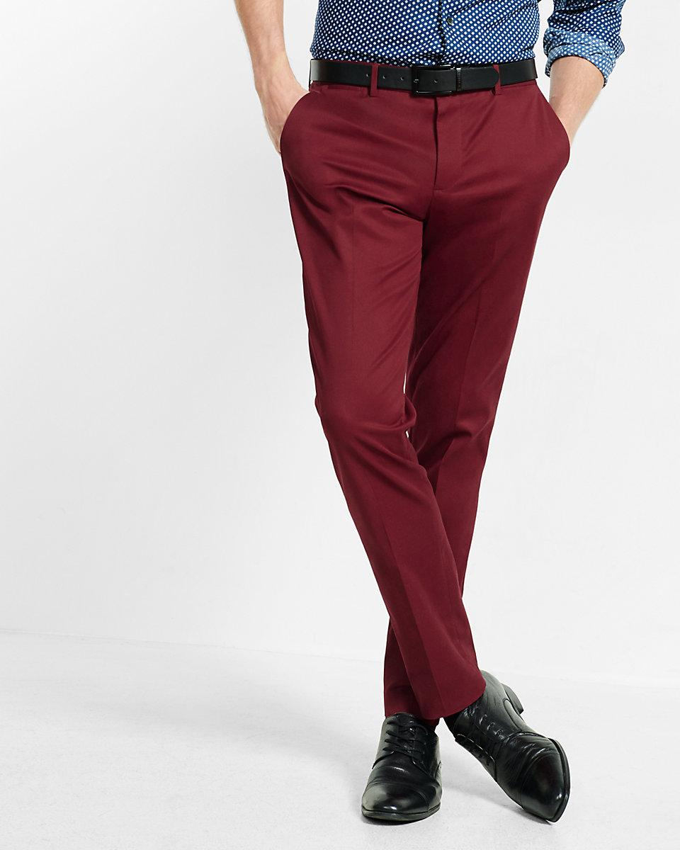 Express Skinny Innovator Burgundy Stretch Dress Pant In
