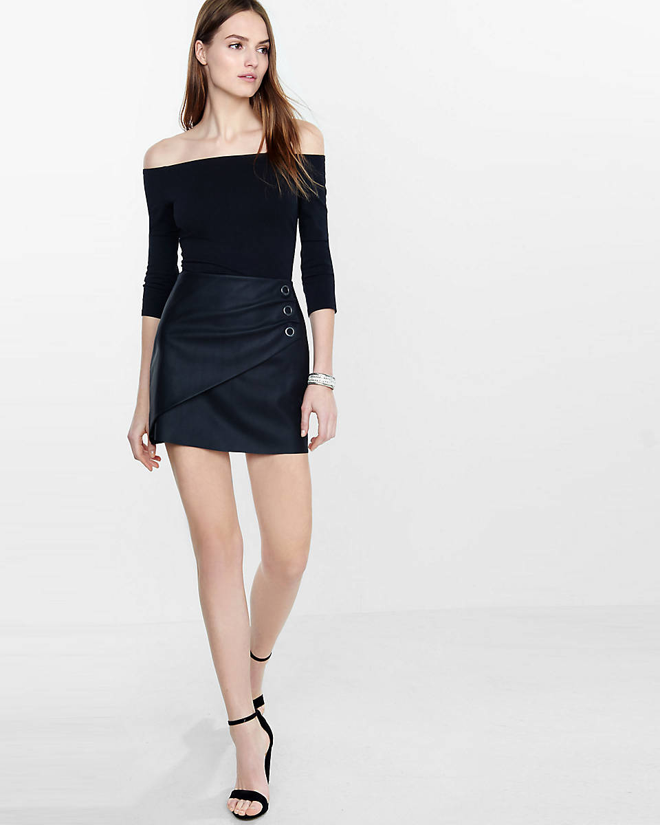 express minus the leather grommet embellished wrap skirt
