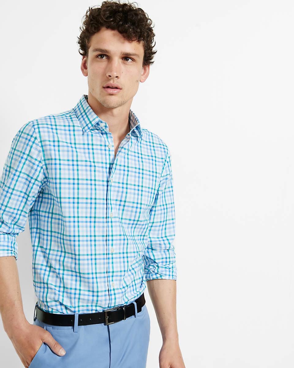 Express modern fit check dress shirt in blue for men lyst for Modern fit dress shirt