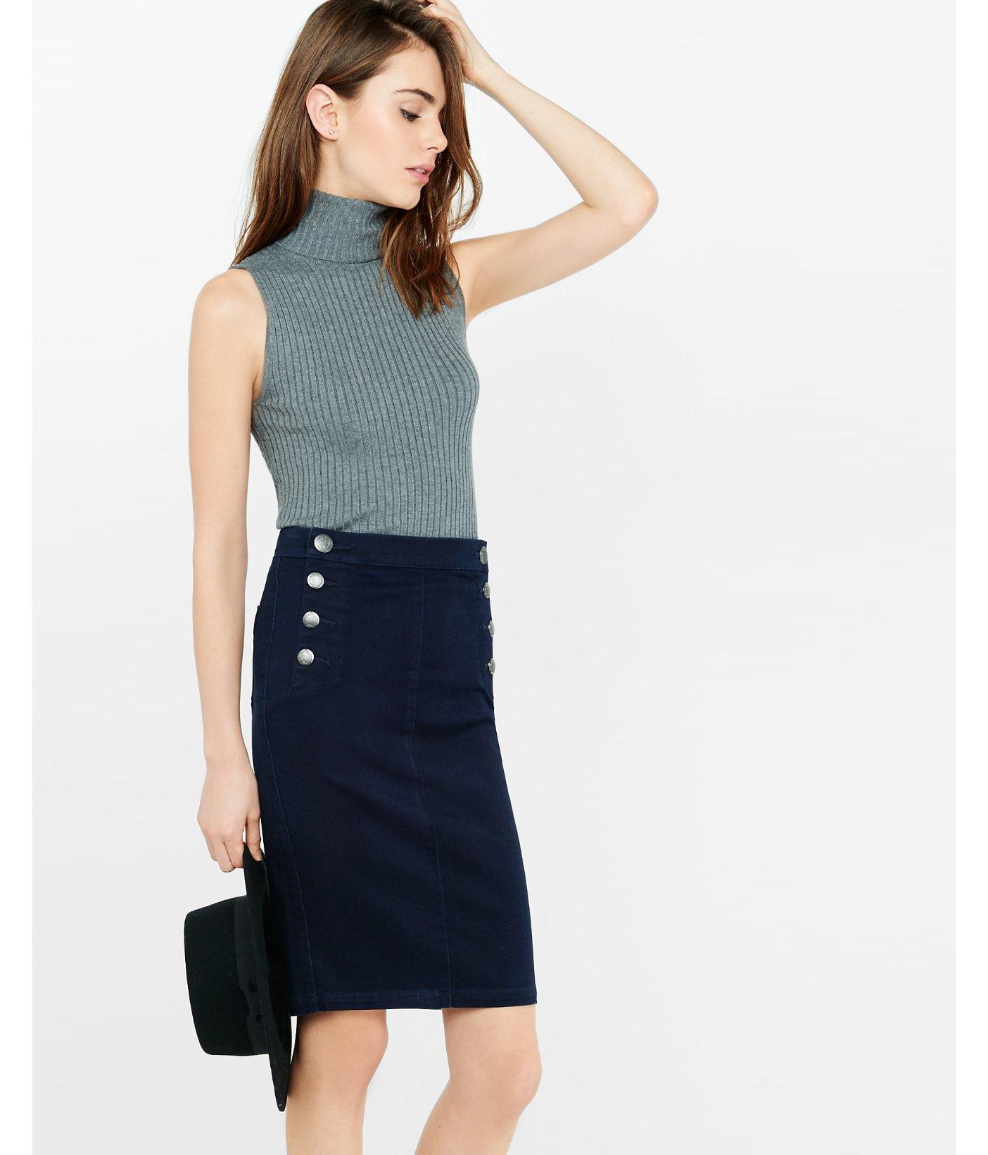 express high waisted sailor pencil skirt in blue lyst