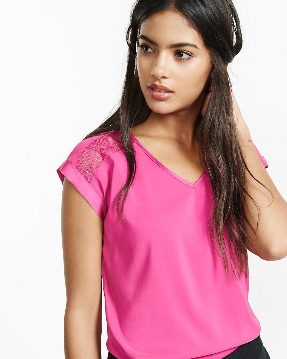 Lyst Express V Neck Pieced Lace Rolled Sleeve Blouse In Pink