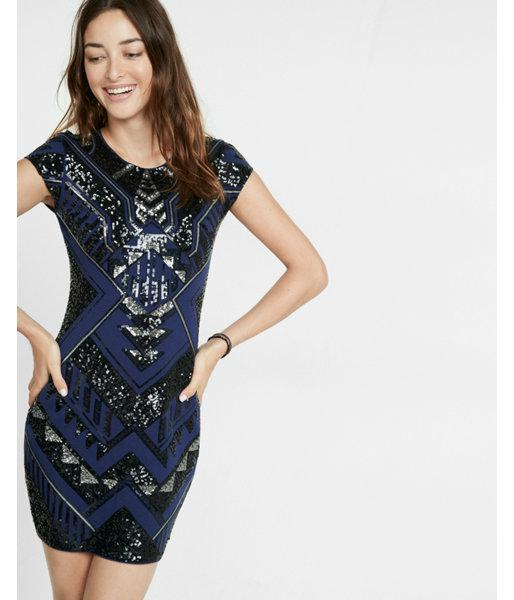 d6b3fb612ce9 Express Deco Sequin Embellished Cap Sleeve Dress in Blue - Lyst