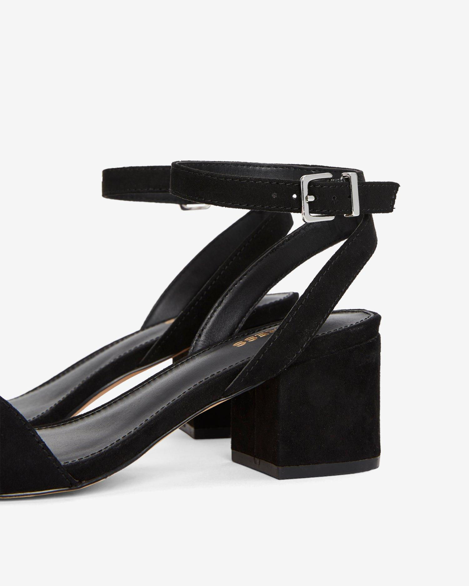 8864ad90b8 Express - Faux Suede Low Block Heeled Sandals Black - Lyst. View fullscreen