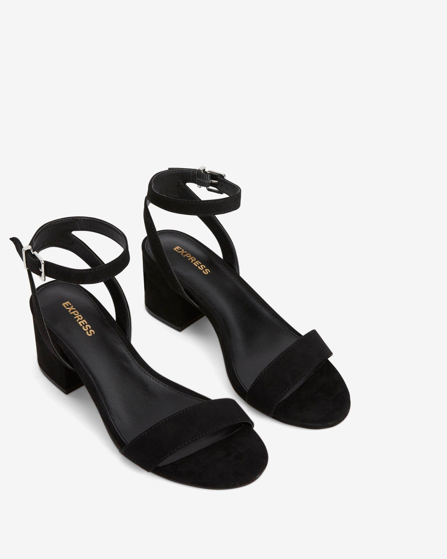 b2ee63fed5 Express Faux Suede Low Block Heeled Sandals Black in Black - Save 32% - Lyst