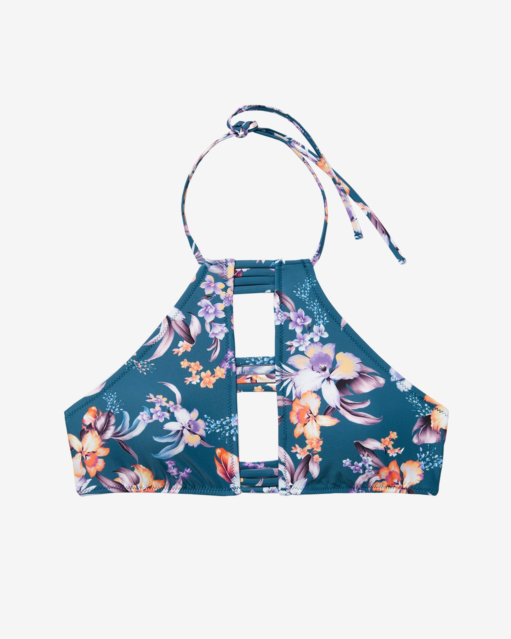 81156471331 Express Floral Strappy Cut-out Halter Neck Bikini Top Blue in Blue ...