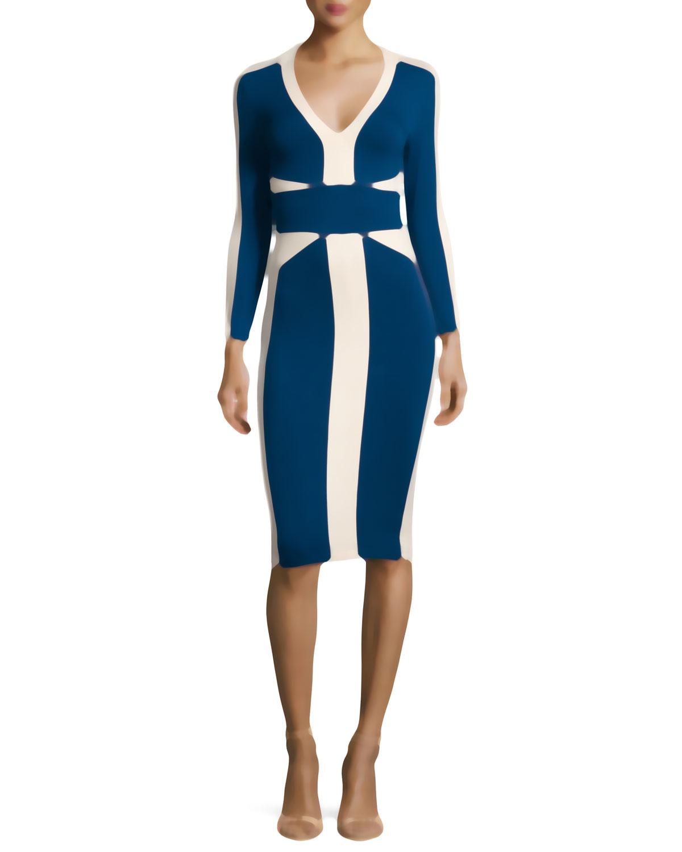 Just cavalli 3/4-sleeve Colorblock Slim Dress in Blue   Lyst