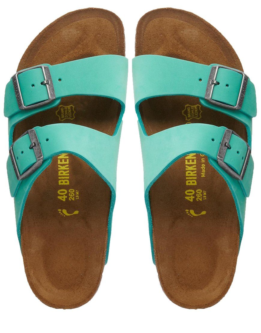 Lyst Birkenstock Arizona Leather Mint Green Flat Sandals