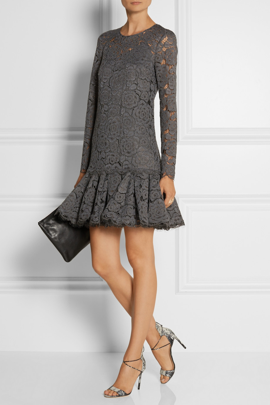 Wedding Gray Lace Dress dkny floral lace dress in gray lyst gallery