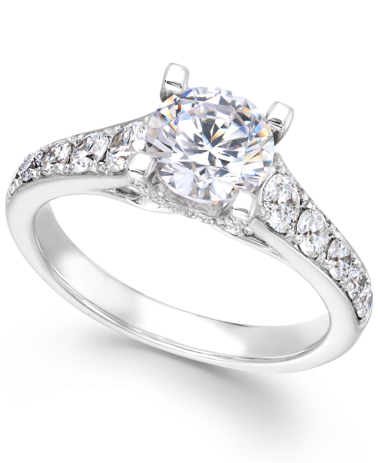 x3 certified diamond engagement ring in 18k white gold 2 With 2 1 4 ct tw diamond wedding ring