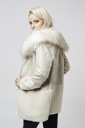 Topshop Contrast Shearling Coat By Glamorous in Natural | Lyst
